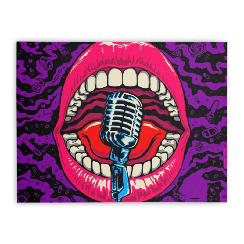 Hot Lips Home Stretched Canvas by redleggerstudio's Shop