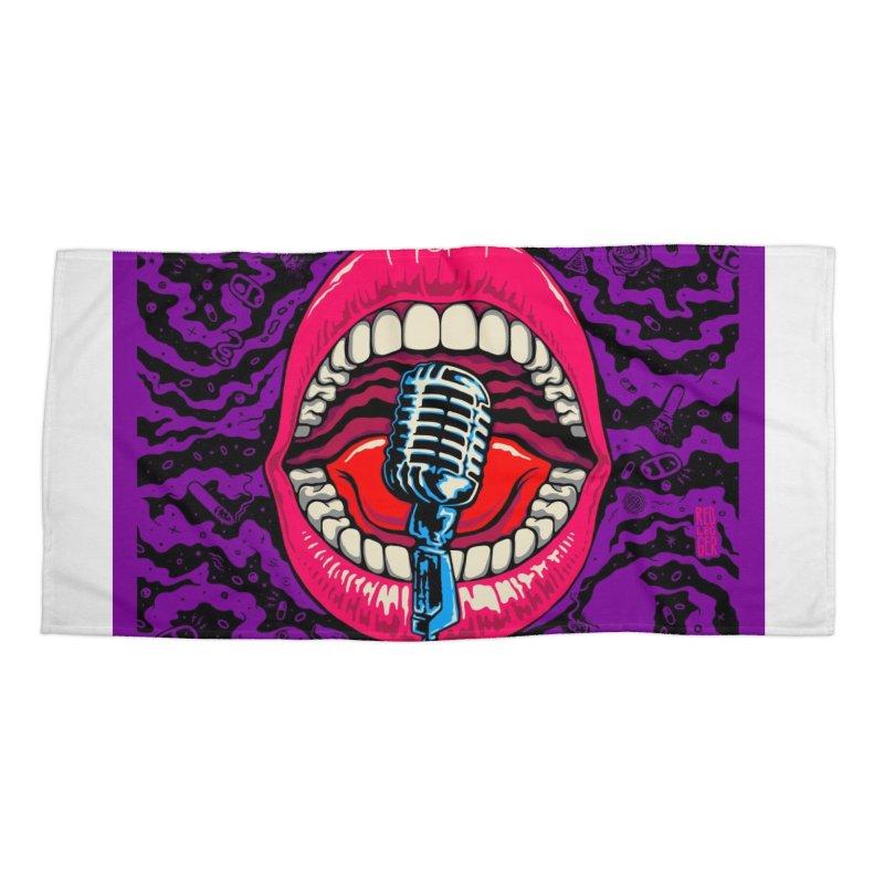 Hot Lips Accessories Beach Towel by redleggerstudio's Shop