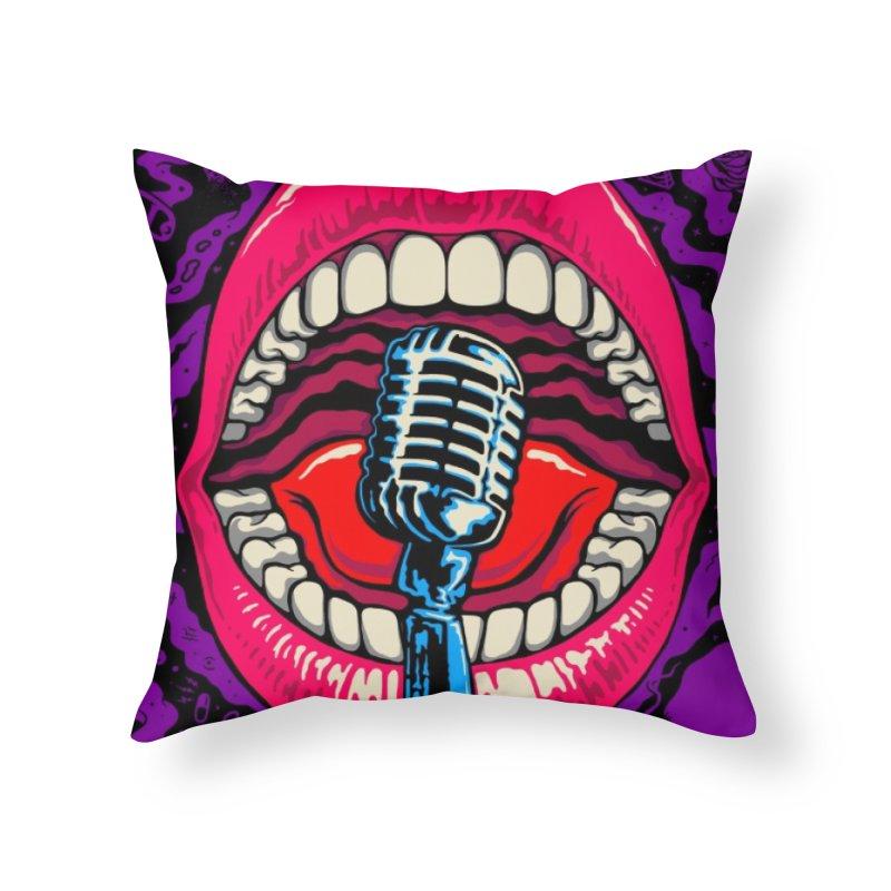 Hot Lips Home Throw Pillow by redleggerstudio's Shop