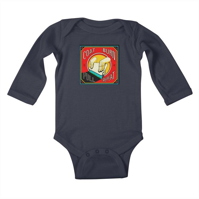 Coat, Burn, Pull, Repeat Kids Baby Longsleeve Bodysuit by redleggerstudio's Shop
