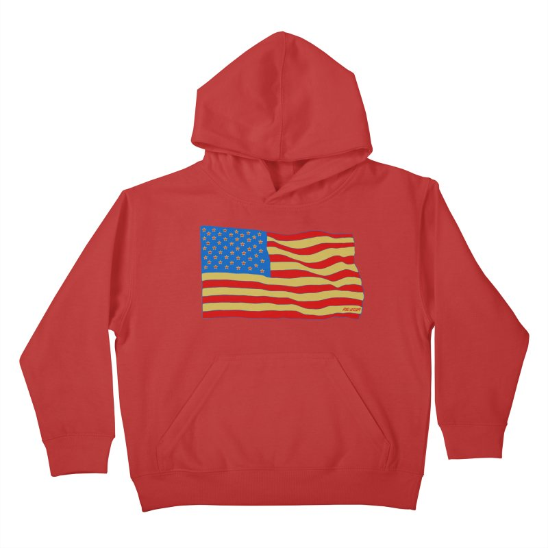Red Legger Flag Kids Pullover Hoody by redleggerstudio's Shop