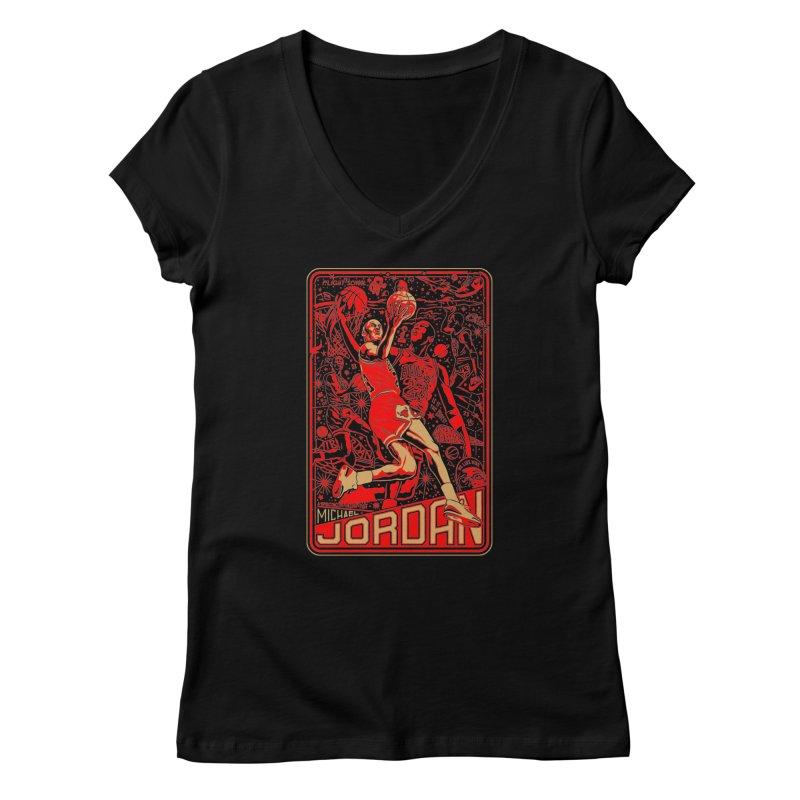 MJ Women's V-Neck by redleggerstudio's Shop