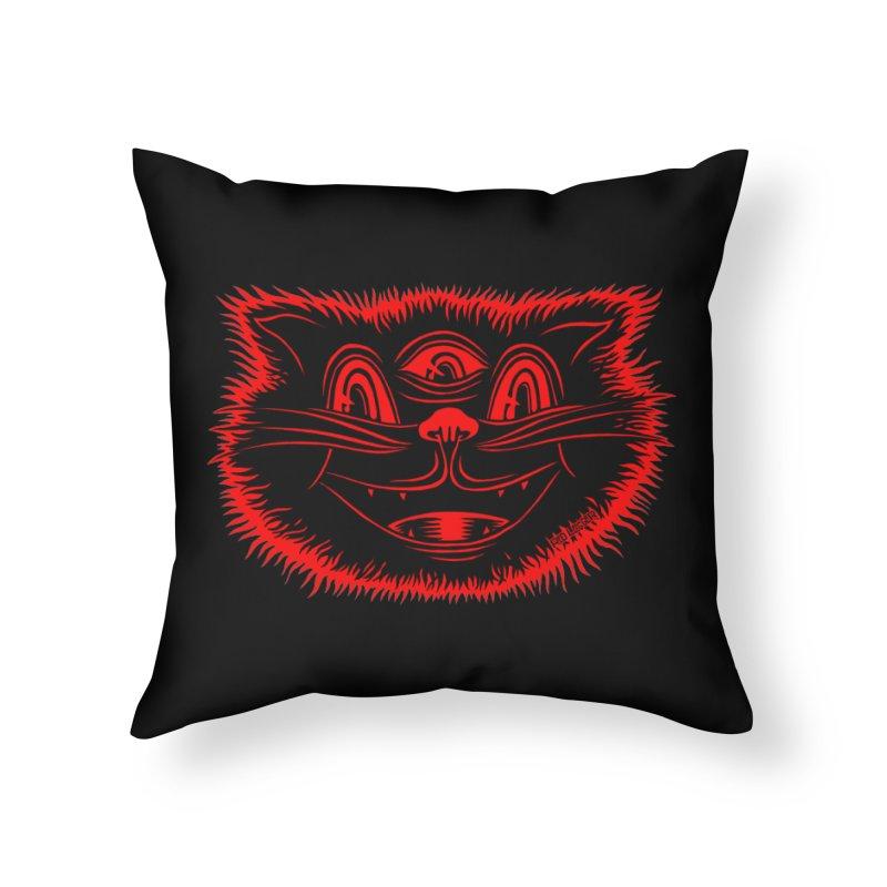 Meow Meow Home Throw Pillow by redleggerstudio's Shop