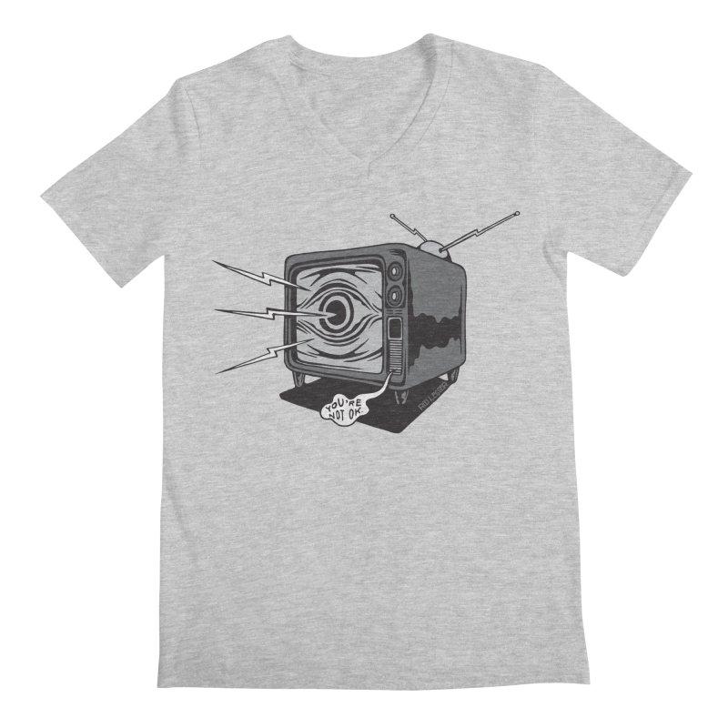 TV Time Men's Regular V-Neck by redleggerstudio's Shop
