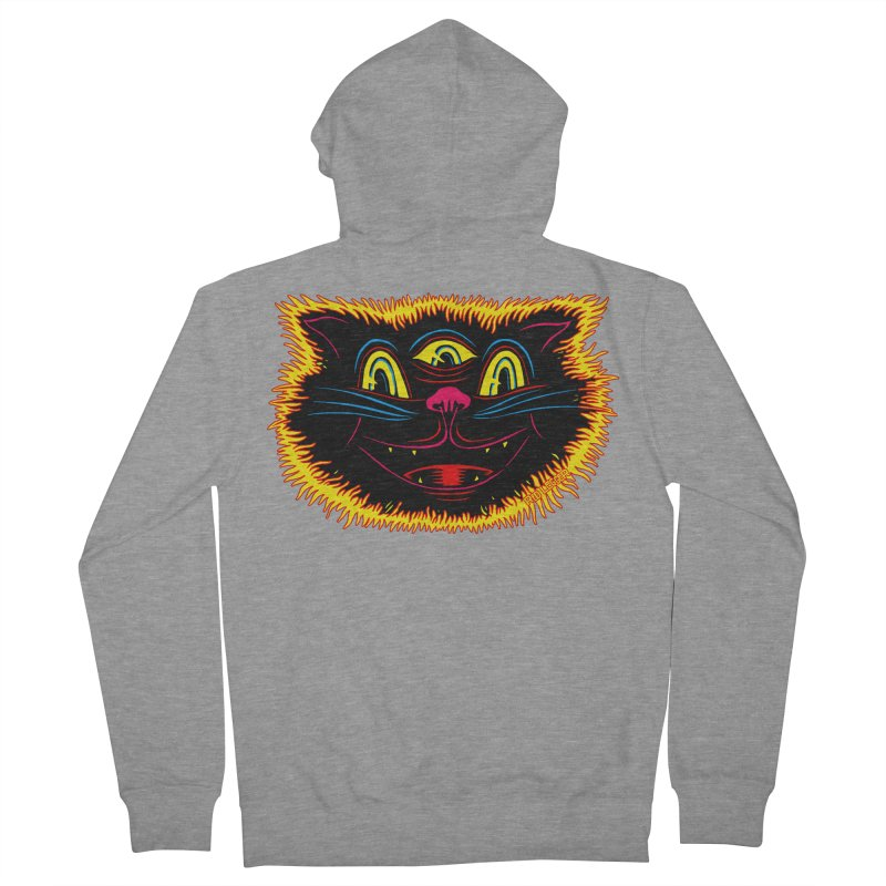 Black Cat Men's French Terry Zip-Up Hoody by redleggerstudio's Shop