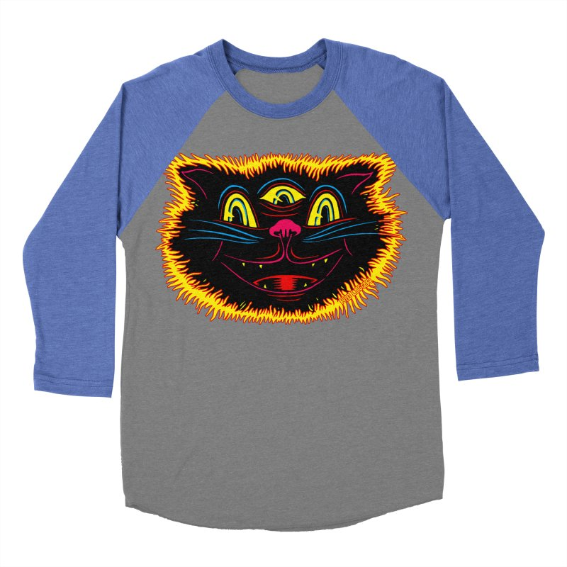 Black Cat Women's Baseball Triblend Longsleeve T-Shirt by redleggerstudio's Shop