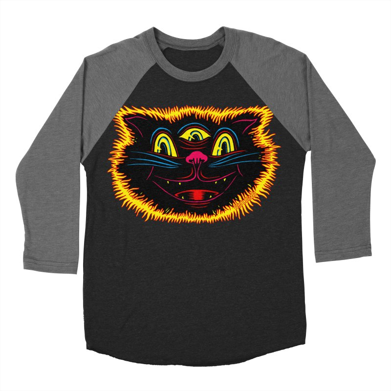 Black Cat Men's Baseball Triblend Longsleeve T-Shirt by redleggerstudio's Shop