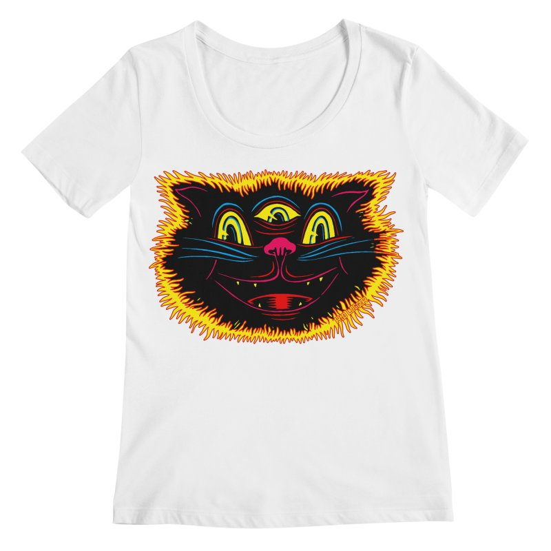 Black Cat Women's Regular Scoop Neck by redleggerstudio's Shop