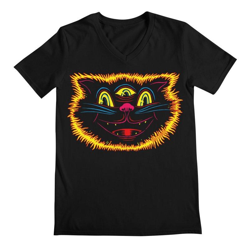 Black Cat Men's Regular V-Neck by redleggerstudio's Shop