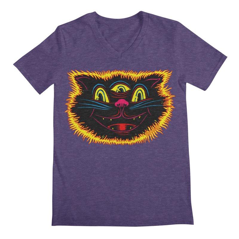 Black Cat Men's V-Neck by redleggerstudio's Shop