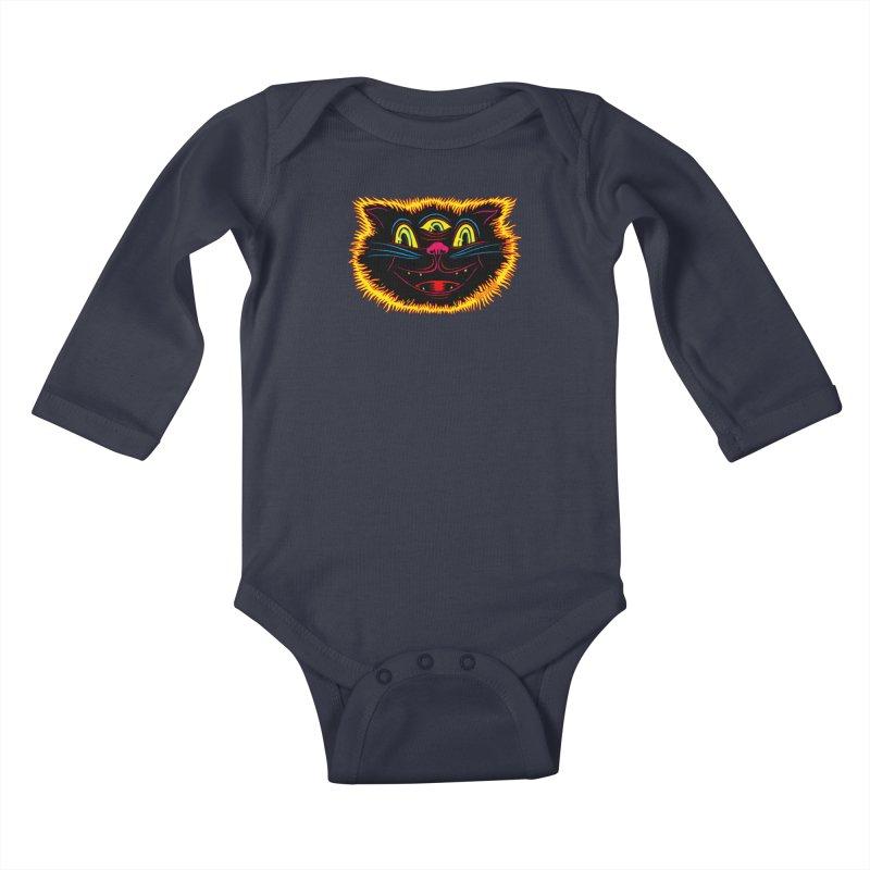 Black Cat Kids Baby Longsleeve Bodysuit by redleggerstudio's Shop