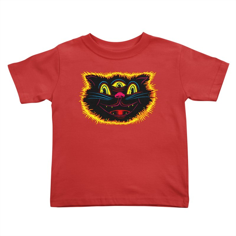 Black Cat Kids Toddler T-Shirt by redleggerstudio's Shop