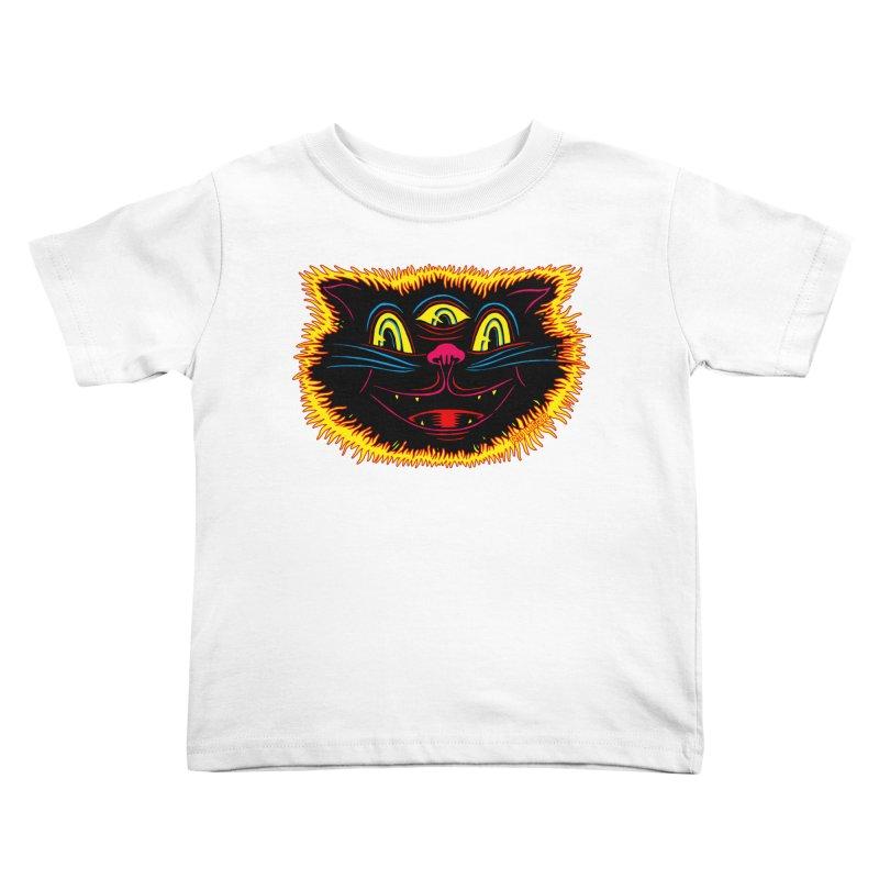 Black Cat Kids Toddler T-Shirt by redleggerstudio's Shop