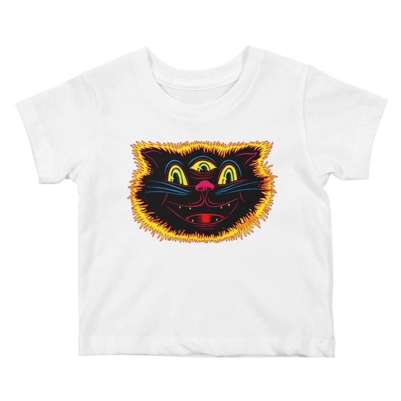 Black Cat Kids Baby T-Shirt by redleggerstudio's Shop