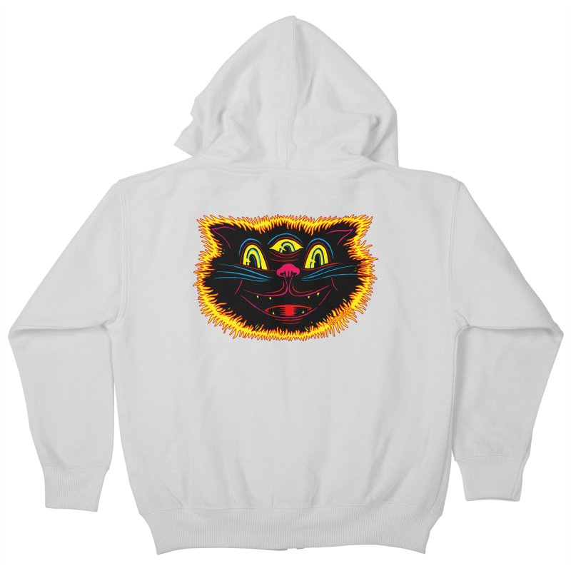 Black Cat Kids Zip-Up Hoody by redleggerstudio's Shop