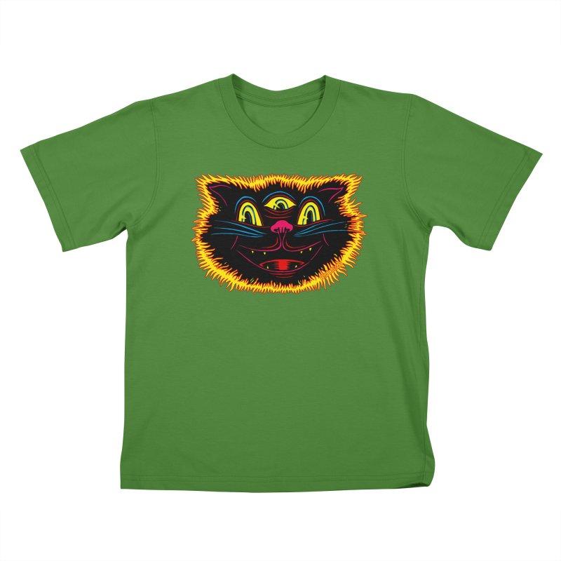 Black Cat Kids T-Shirt by redleggerstudio's Shop