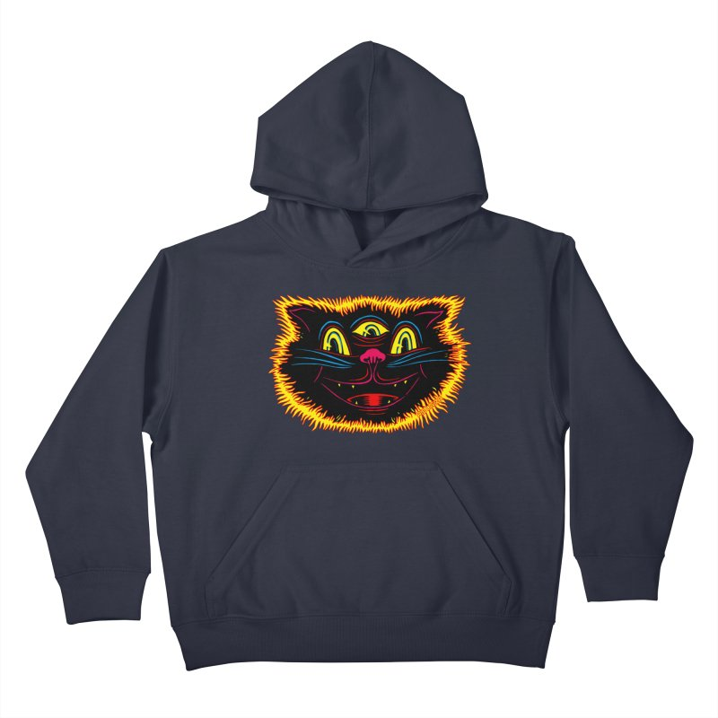 Black Cat Kids Pullover Hoody by redleggerstudio's Shop