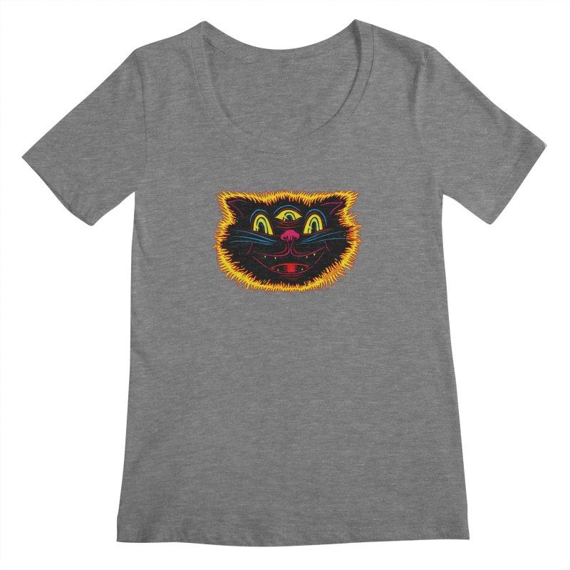 Black Cat Women's Regular Scoop Neck by redleggerstudio's Shop