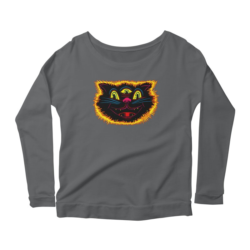 Black Cat Women's Scoop Neck Longsleeve T-Shirt by redleggerstudio's Shop
