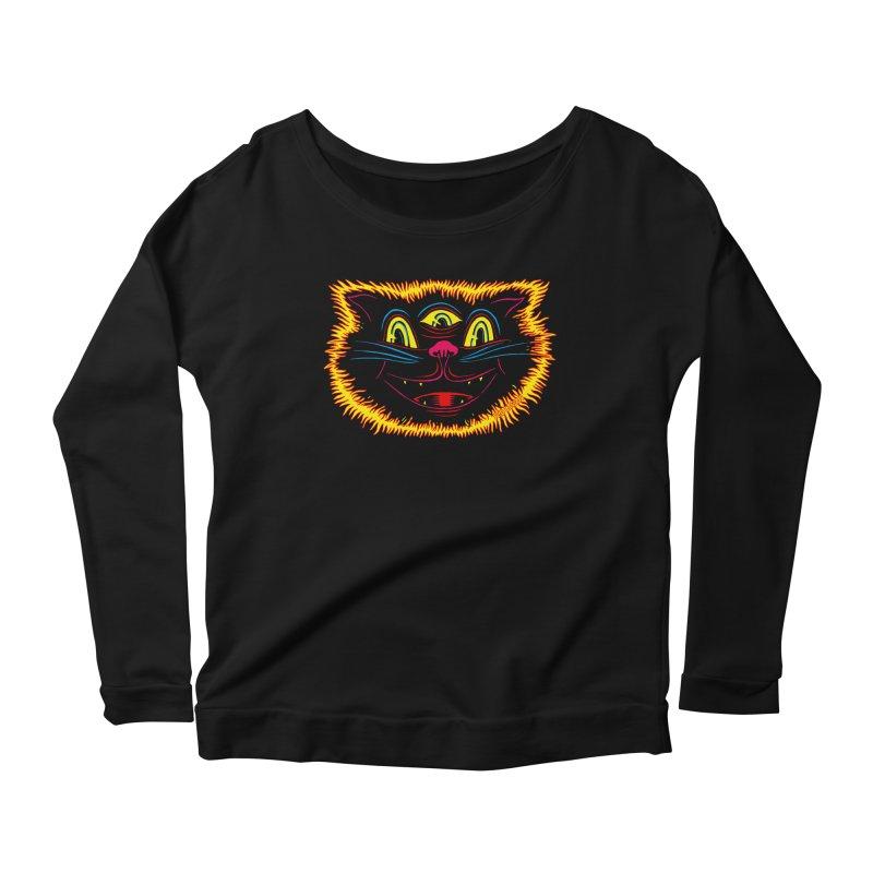 Black Cat Women's Longsleeve Scoopneck  by redleggerstudio's Shop