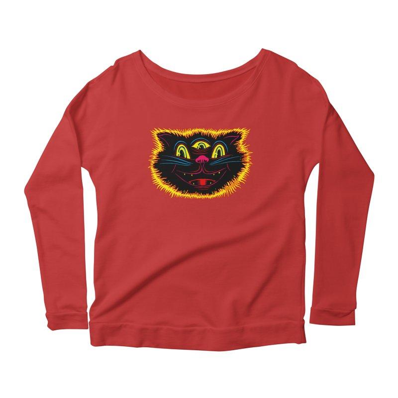 Black Cat Women's Scoop Neck Longsleeve T-Shirt by redleggerstudio's Shop