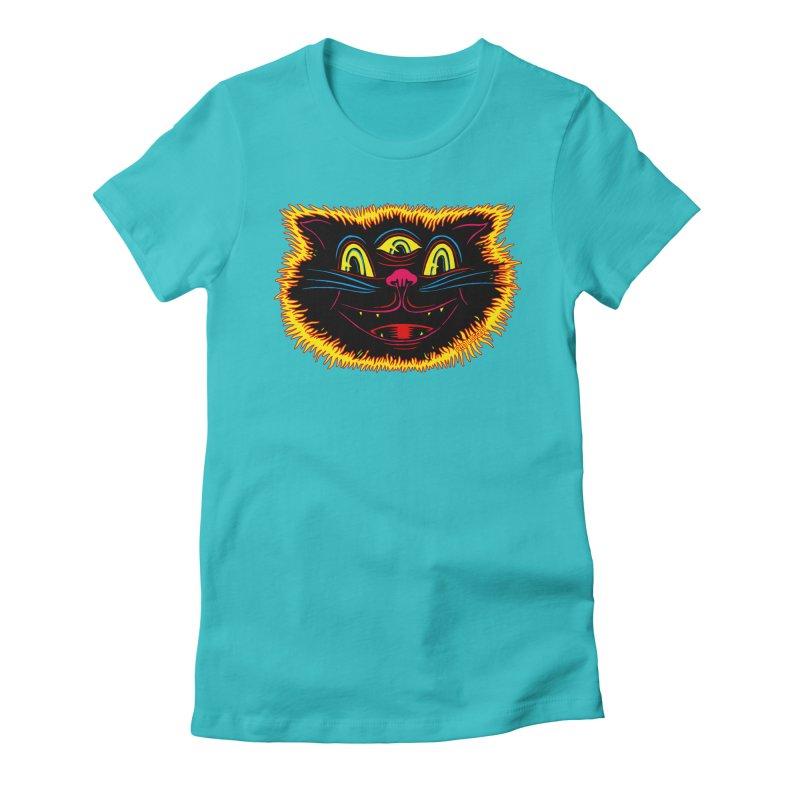 Black Cat Women's Fitted T-Shirt by redleggerstudio's Shop