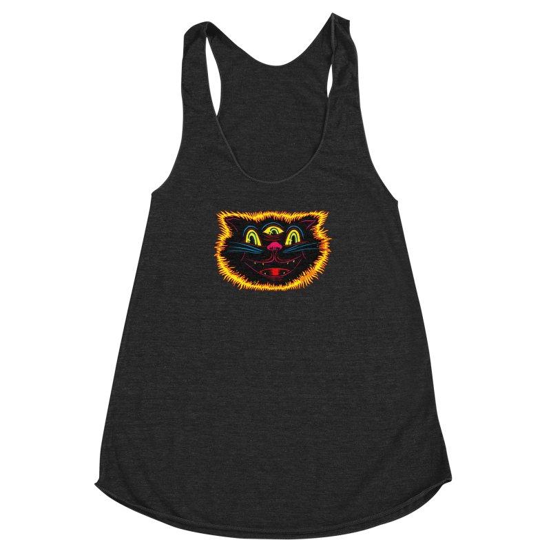 Black Cat Women's Racerback Triblend Tank by redleggerstudio's Shop