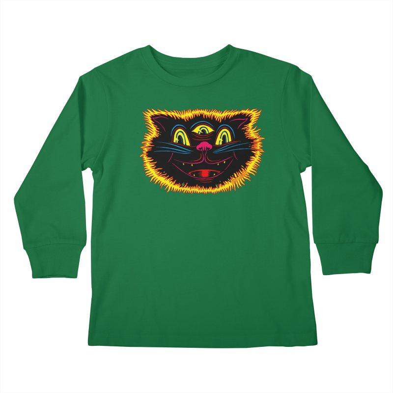 Black Cat Kids Longsleeve T-Shirt by redleggerstudio's Shop