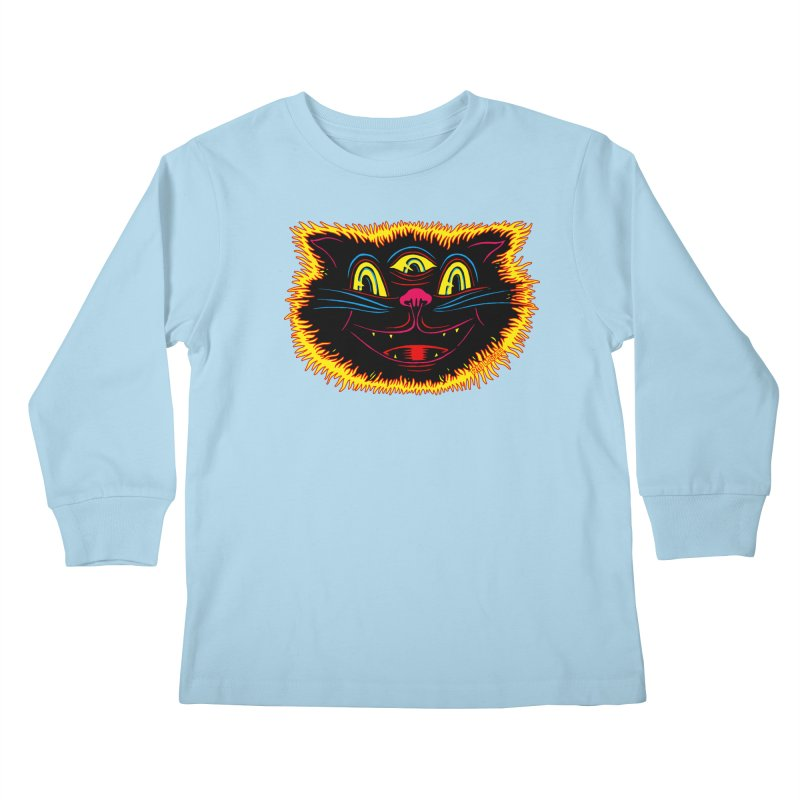 Black Cat Kids Longsleeve T-Shirt by redleggerstudio's Shop