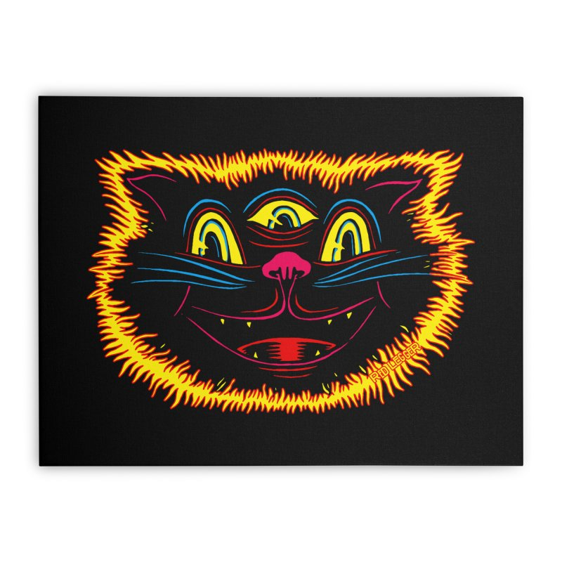 Black Cat Home Stretched Canvas by redleggerstudio's Shop