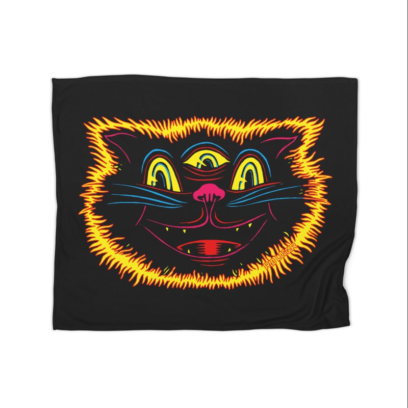Black Cat Home Blanket by redleggerstudio's Shop