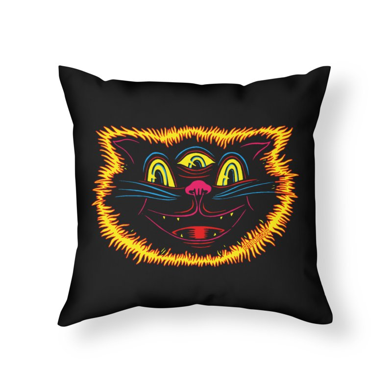 Black Cat Home Throw Pillow by redleggerstudio's Shop