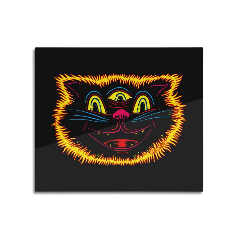 Black Cat Home Mounted Aluminum Print by redleggerstudio's Shop