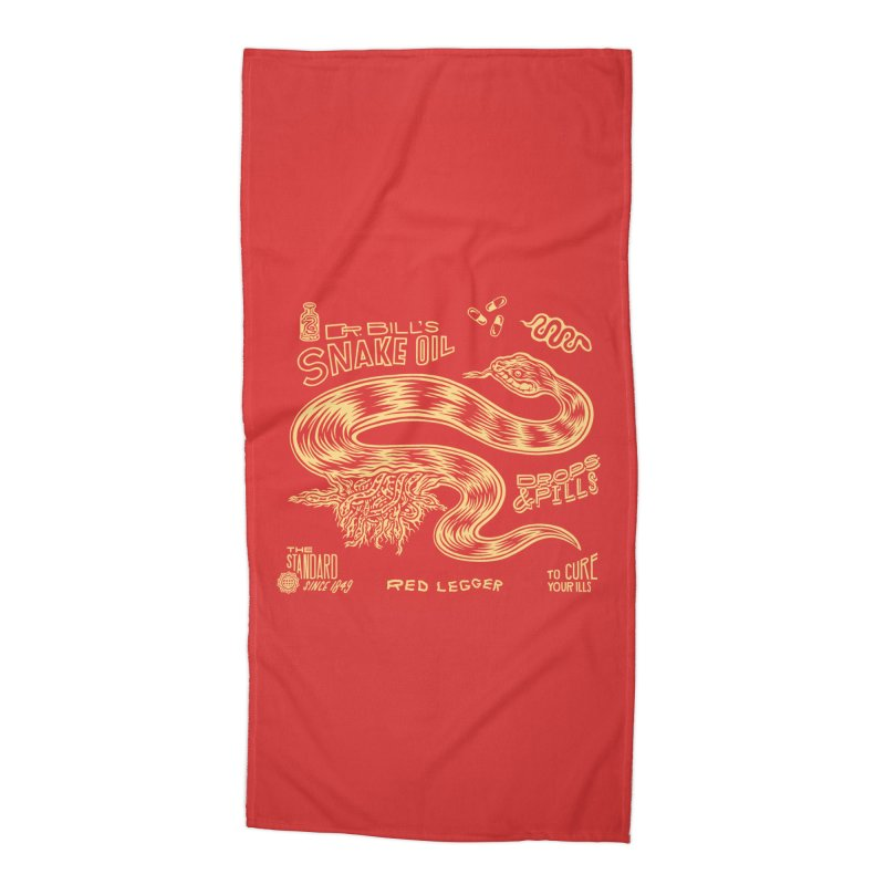 Snake Oil Accessories Beach Towel by redleggerstudio's Shop