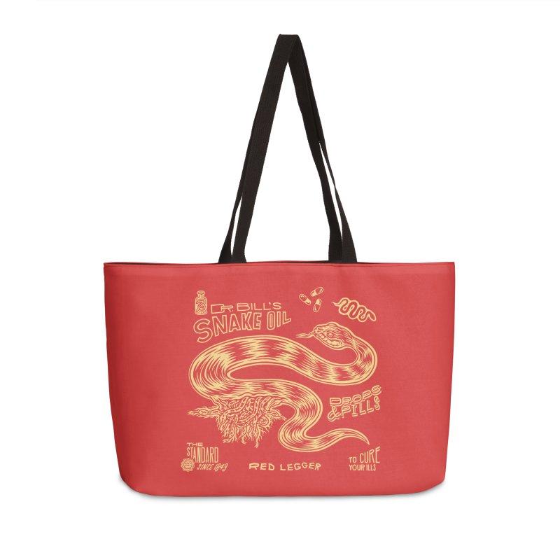 Snake Oil Accessories Weekender Bag Bag by redleggerstudio's Shop
