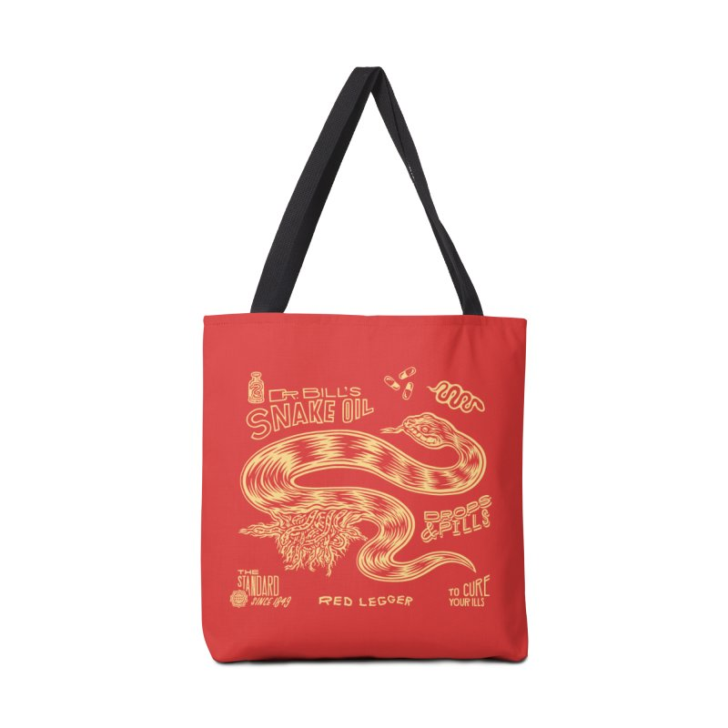Snake Oil Accessories Tote Bag Bag by redleggerstudio's Shop
