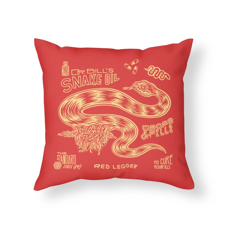 Snake Oil Home Throw Pillow by redleggerstudio's Shop
