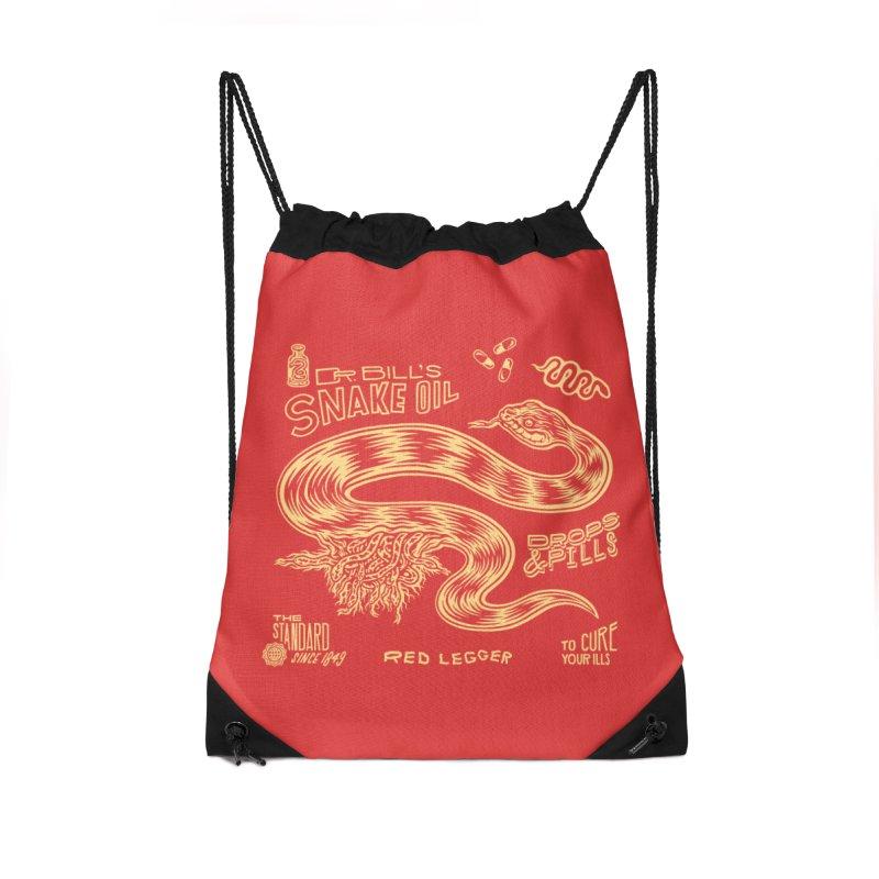 Snake Oil Accessories Drawstring Bag Bag by redleggerstudio's Shop