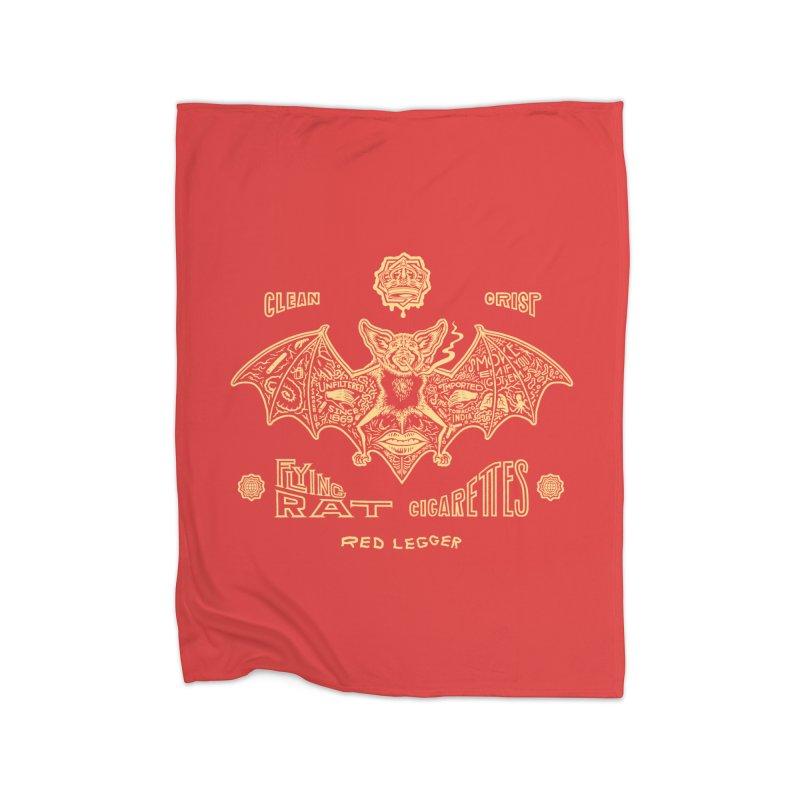 Flying Rat Home Fleece Blanket Blanket by redleggerstudio's Shop
