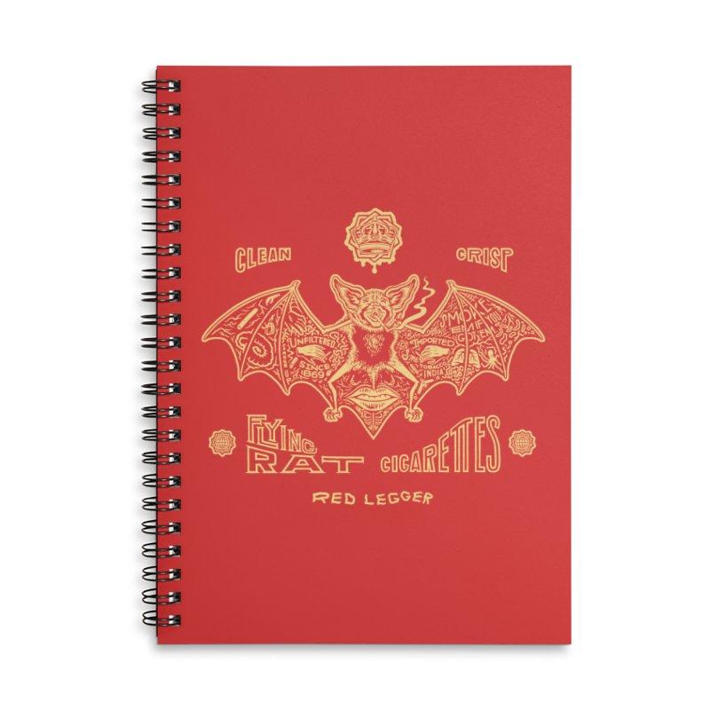 Flying Rat Accessories Lined Spiral Notebook by redleggerstudio's Shop