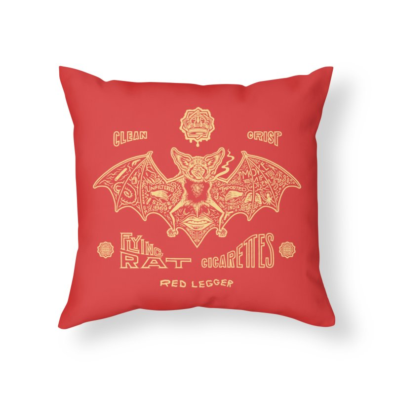 Flying Rat Home Throw Pillow by redleggerstudio's Shop