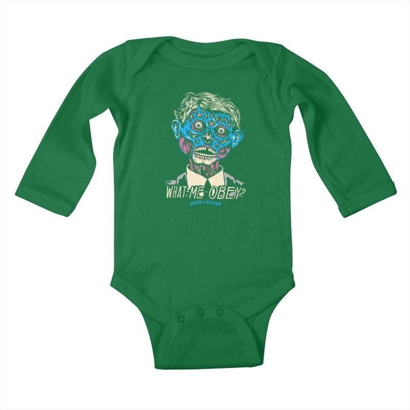 What-Me OBEY? Kids Baby Longsleeve Bodysuit by redleggerstudio's Shop