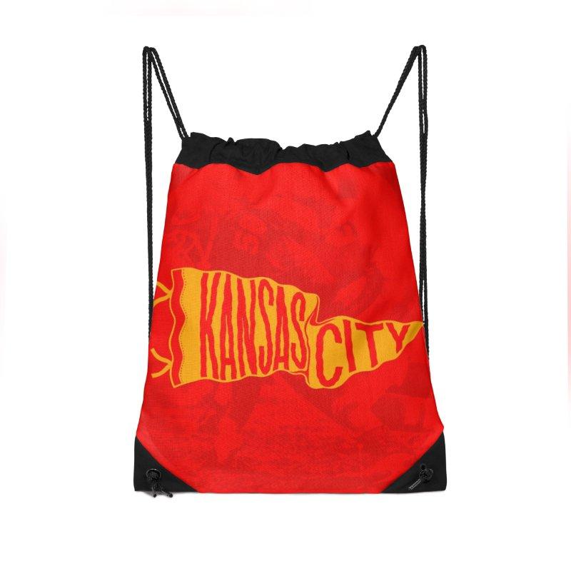 Kansas City Pennant No. 1 Accessories Drawstring Bag Bag by redleggerstudio's Shop