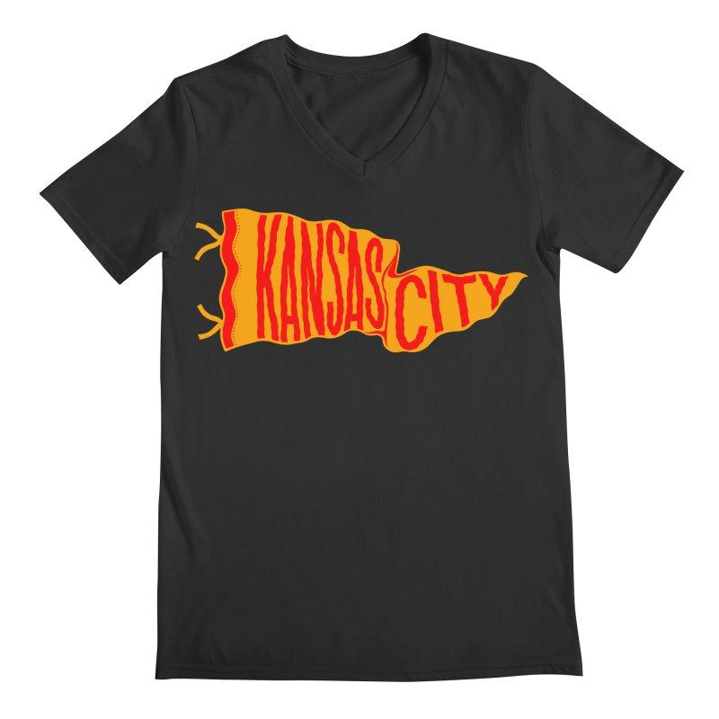 Kansas City Pennant No. 1 Men's Regular V-Neck by redleggerstudio's Shop