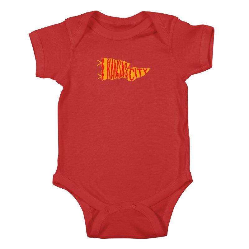 Kansas City Pennant No. 1 Kids Baby Bodysuit by redleggerstudio's Shop