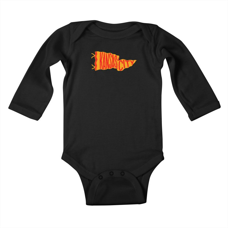 Kansas City Pennant No. 1 Kids Baby Longsleeve Bodysuit by redleggerstudio's Shop