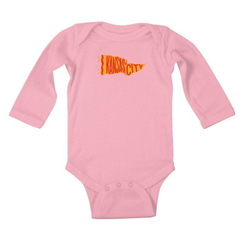 Kansas City Pennant No. 1 Kids Baby Longsleeve Bodysuit by redleggerstudio's Shop