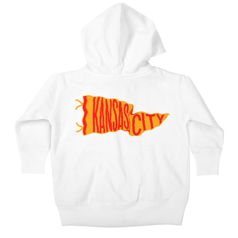 Kansas City Pennant No. 1 Kids Baby Zip-Up Hoody by redleggerstudio's Shop