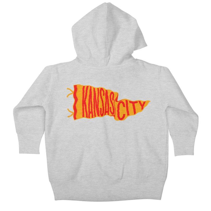 Kansas City Pennant No. 1 Kids Baby Zip-Up Hoody by redleggerstudio's Shop