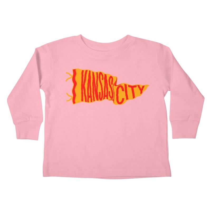 Kansas City Pennant No. 1 Kids Toddler Longsleeve T-Shirt by redleggerstudio's Shop